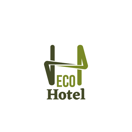 Eco hotel vector icon isolated on white background. Conceptual icon for hotels, cottages or eco friendly smart houses. Vector sign for wooden housing business or eco village resort Stok Fotoğraf - 114520937