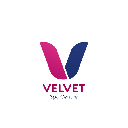 SPA center V letter icon for premium Velvet beauty care studio or massage salon. Vector isolated letter V for healthcare or skincare and relaxation, wellness SPA club and body care treatment