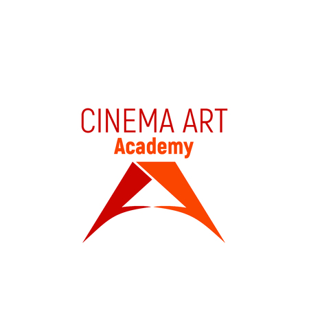 Cinema art academy vector sign isolated on a white background. Creative badge in orange and red colors, concept of filmmaking and cinematography. Films and cinema symbol for art school