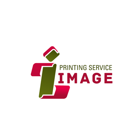 I letter icon for printing service or printhouse and advertising materials production company. Vector isolated letter I for professional image design and printing house or digital photo print studio Illustration