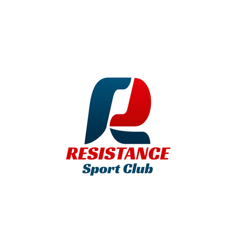 Resistance sport club vector icon isolated on a white background. Creative sign for sport club or health center, concept of healthy lifestyle and bodybuilding. Emblem for fitness center