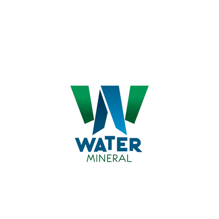 Mineral water W letter icon for natural pure clean drinking water package or bottle design. Vector letter W for clear drink water production or beverage company and water trading industry