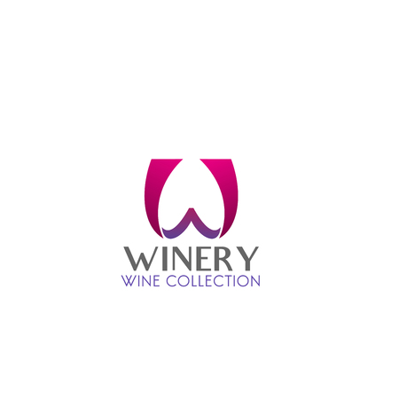 Winery shop or wine collection icon in magenta and gray colors isolated on a white background. Creative vector badge for package, winery branding and identity. Wine label, concept of winemaking
