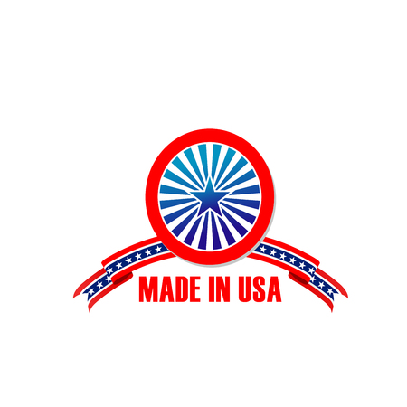 Made in USA icon of America flag stars and stripes for US warranty or original quality product label. Vector round symbol and US ribbon for American premium best production industry tag