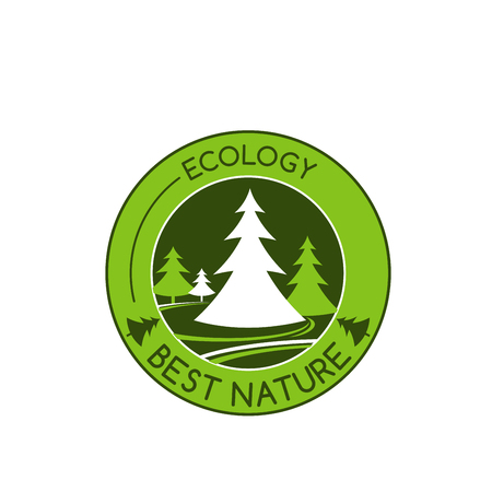 Green nature and environment ecology ion of green trees or forest park for environmental eco project or earth conservation association. Vector badge of green eco parkland or woodland nature