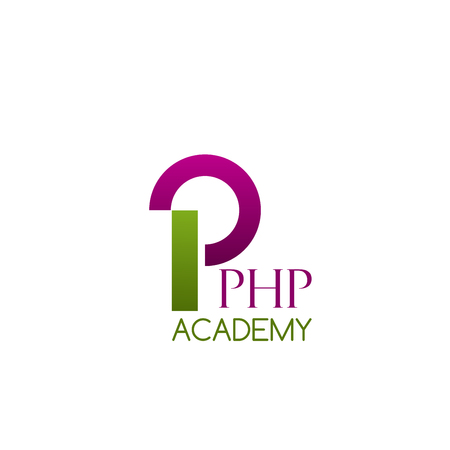 PHP academy vector icon isolated on a white background. Concept of online training of computer programing and engineering lessons. Vector badge for school of programing or digital education