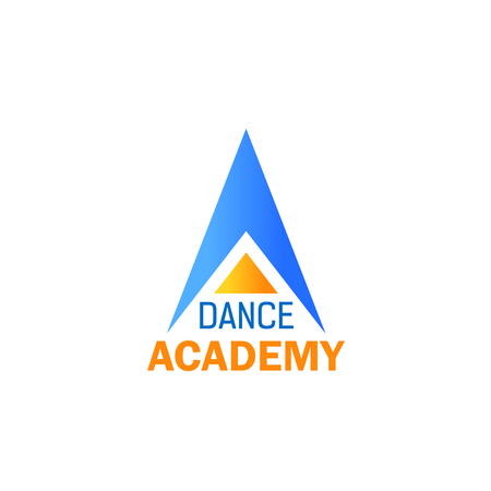 Dance Academy icon for ballet studio or sport school branding design. Blue and yellow alphabet symbol of capital letter A. Fitness club corporate identity font for emblem or signboard template