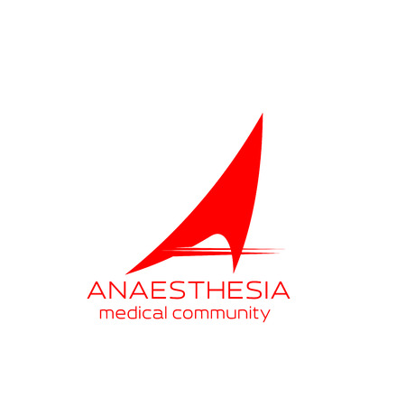 Anesthesia medical community icon for health care emblem design. Abstract corporate identity font of red letter A isolated alphabet symbol for medical center, hospital or clinic business card template Stock Vector - 114520986