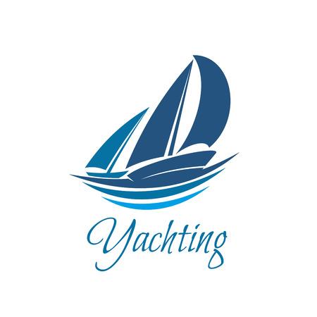 Żeglarstwo ikona sportu lub klubu jachtu na falach. Wektor niebieski jacht żagle lub żaglówkę na symbol odznaki fali morskiej dla morskiej przygody podróży lub mistrzostw żeglarskich lub turnieju żeglarstwa