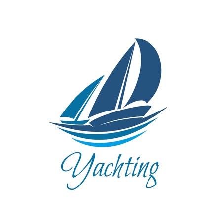 Yachting sport or club icon of yacht on waves. Vector blue yacht sails or sailboat on sea wave badge symbol for marine travel adventure or yachting championship or sailing trip tournament Ilustração