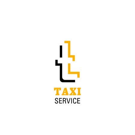 Taxi icon of T letter for taxi transportation company. Vector isolated letter T n yellow and black colors for agency sign or mobile taxi transport or driver ridesharing application