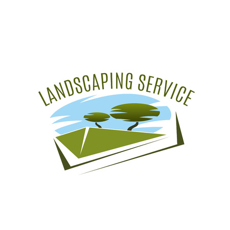 Landscaping service vector icon. Garden design company vector emblem. Concept of gardening and green house designing. Horticultural business, eco park or urban landscape creative badge