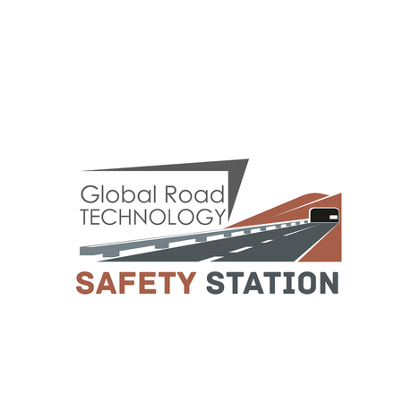 Global road construction technology icon for transportation safety center. Vector isolated highway and tunnel for road repair alliance or transport tunneling and motorway building company