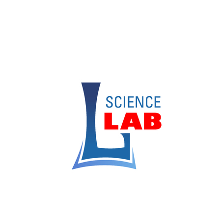 Science Lab L letter icon for chemical or pharmaceutical laboratory. Vector isolated letter L in chemist beaker shape for innovation medicine research or scientific technology development