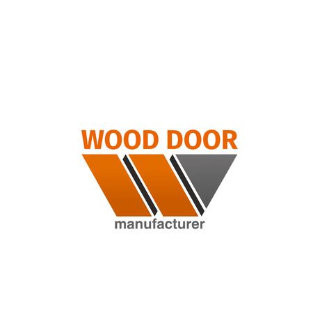 Wooden door manufacturer vector icon isolated on a white background. Concept of interior design company and room door. Symbol of construction, doorway and decoration of house or home Ilustração
