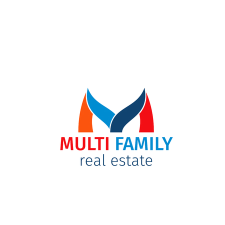 Multi family real estate vector icon isolated on white background. Creative design for real estate agency or business. Badge for property business or apartment rent company