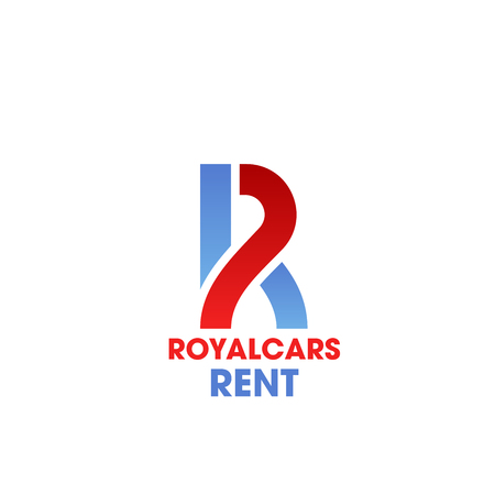 Royal cars rent R letter icon for car rental luxury service or carsharing agency. Vector isolated letter R in road shape for car sharing or carpool premium tourism travel rental company