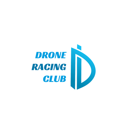 Letter D icon for drone, car or carting racing club or sport cars team badge. Vector race track route symbol of letter D for entertainment games and car or bike training extreme adventure club