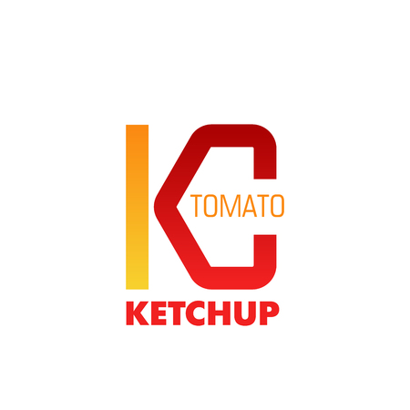 Tomato ketchup vector icon. Colorful yellow and red vector sign. Tomato label design isolated on white background. Natural tomatoes product, symbol for branding ketchup sauce
