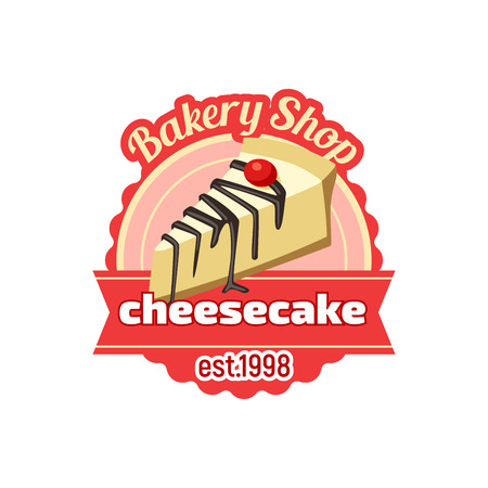 cheesecake dessert icon for bakery shop or pastry patisserie. Vector sweet cake dessert or cupcake or chocolate muffin or donut, charlotte pie or brownie for cafeteria menu