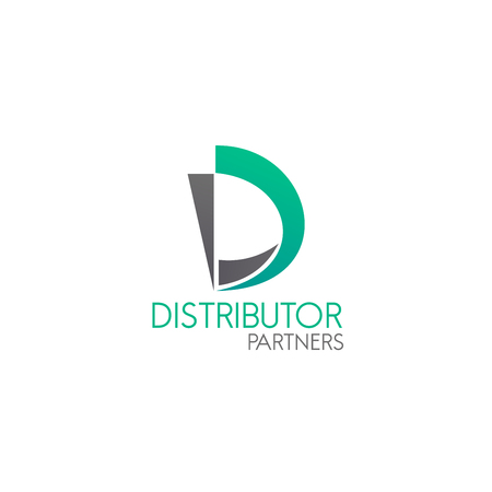 Distributor partners vector icon isolated on a white background. Concept of distribution and network, badge for business. Creative vector sign in green and gray colors, concept of partnership