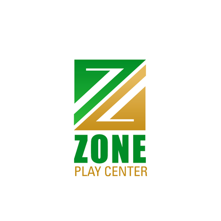 Zone play center symbol for children playground emblem design. Green and golden letter Z for school, education center and kid play area branded business card and corporate identity template