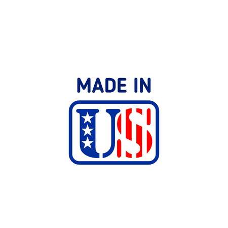 Made in USA vector emblem isolated on a white background. Creative badge made in United States. Concept of products manufactured in USA, patriotic branding in red and blue colors Ilustrace