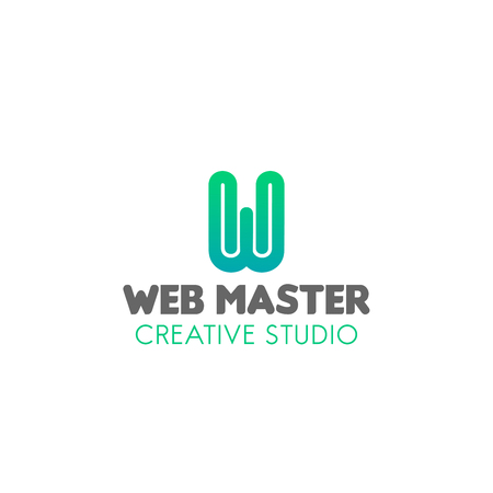 Web master creative studio vector sign isolated on a white background. Concept of wed technologies and website development. Creative badge in blue colors for profession web studio Illustration