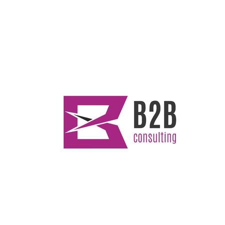 Letter B icon for B2B business development and consulting agency. Vector pink geometric symbol of letter B for real deal commercial company or marketing trade partner alliance Illustration