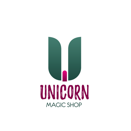 Magic shop letter U icon for Unicorn mystic and forecast online store and illusionist tools internet shopping. Vector color symbol of letter U for entertainment trick games or equipment web store Illustration