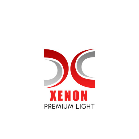 Xenon light symbol with modern font of X capital letter. Business branding and corporate identity alphabet symbol, composed of red and grey curved lines for branded emblem template design Illustration