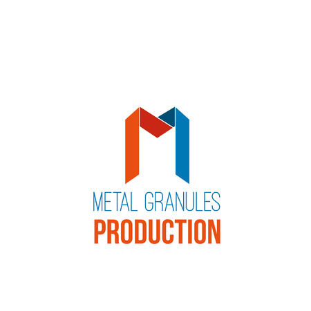 Vector icon for metal granules production business. Concept of metal melting or melting steel manufactury. Abstract sign for metallurgy industry corporate vector isolated on white background