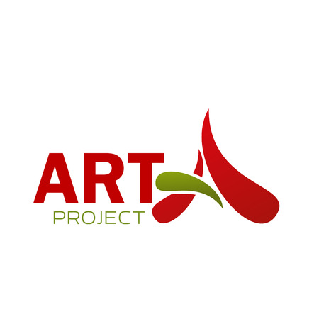Art project icon of A letter for design agency or interior and construction designer studio. Vector isolated letter A in art designing service or professional painter workshop  イラスト・ベクター素材