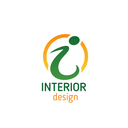 Interior design studio emblem for business card design. Modern font of green letter i, framed with gold circle for interior designer, architecture and construction company corporate identity template
