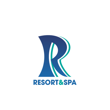 Resort and Spa icon for beauty salon business card template. Elegant corporate identity font of blue letter R for hotel, travel agency or health center branded emblem design