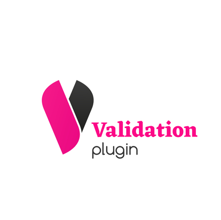 Validation plugin vector icon isolated on a white background. Creative badge in black and pink colors for check confirm program. Concept of test of programs and checklist Ilustração