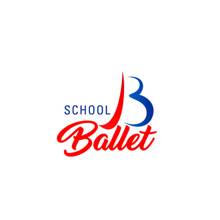 Ballet school symbol for dance studio or sport club branded emblem design. Red and blue corporate identity font of alphabet letter B made up of curved lines for sport or health club business card Stock Illustratie