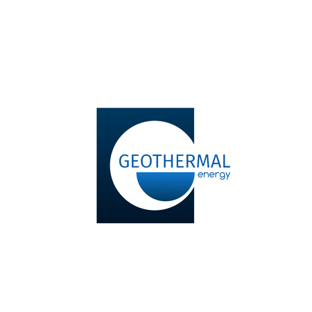Geothermal energy vector sign isolated on white background. Vector icon geothermal power plant concept, badge in blue colors. Concept of alternative energy, creative emblem