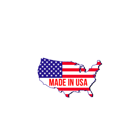 Made in USA vector icon isolated on a white background. Creative badge with map of United States of America and flag. Emblem in red and blue colors for branding of products made in USA