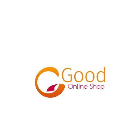 Online shop good sign isolated on a white background. Concept of online shopping or delivery. Creative badge in yellow colors for branding of retail store Stock Vector - 114521165