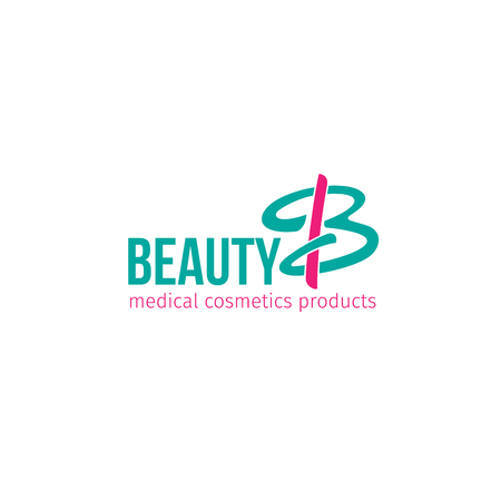 Vector icon for medical cosmetics products shop. Beauty and health concept. Creative emblem for beauty salon or spa. Cosmetic label in green and pink colors isolated on white background