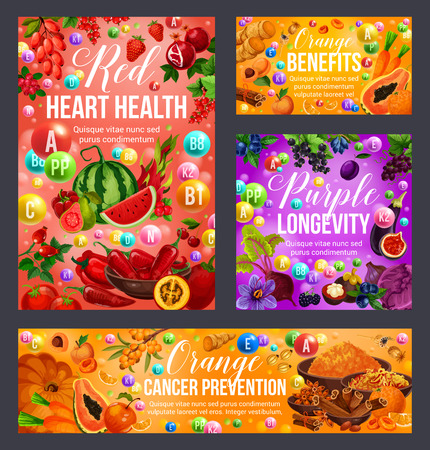 Rote, orange und violette Farbdiät-Vitaminnahrung. Gesundes Ernährungsvektordesign von Gemüse, Obst und Beeren, Gewürzen und Gewürzen. Herzgesundheit, Langlebigkeit und Krebsprävention vegane Zutaten