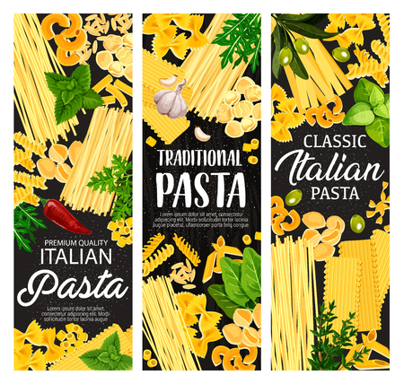 Pasta with Italian spices and herbs. Vector spaghetti, macaroni and penne, farfalle, fusilli and fettuccine, tortelline, conchiglie and tagliatelle, lasagna, cannelloni and orzo with basil and olives