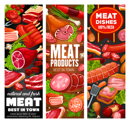 Sausage and meat food products with beef steak, pork loin and ham, salami, bacon and chicken leg, lamb ribs, burger patty and pepperoni on wooden background. Butcher shop barbecue delicatessen vector