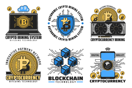 Cryptocurrency icons of bitcoin mining, digital wallet and blockchain financial technologies. Digital money golden coin, computer, laptop and mobile phone, bitcoin farm and cloud mining vector symbols