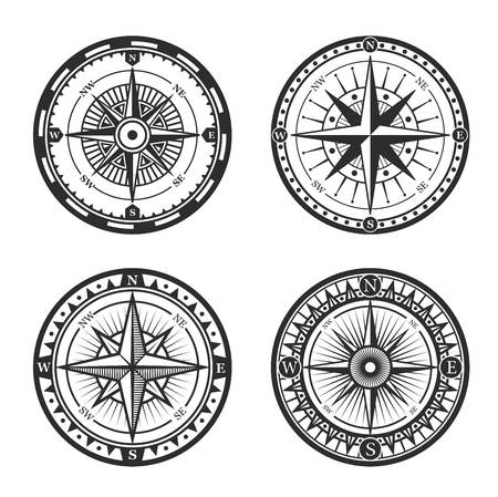 Vintage nautical compass roses or windroses with star shaped map pointers of North, East, South and West wind directions. Marine navigation, navy heraldry and sea travel vector signs design