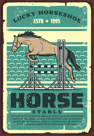 Equestrian sport dressage show jumping retro poster with horse leaping over fence on outdoor arena or hippodrome. Riding club, horse racing and equestrian competition event vector design Foto de archivo - 126480241