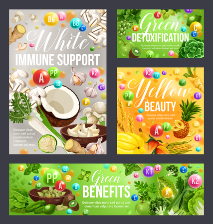 Color diet health benefits of white, green and yellow food. Vitamin fruits and vegetables, spices, herbs and cereals, detoxification, beauty and immune support healthy nutrition plan vector design Illustration