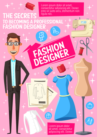 Fashion designer, tailor or dressmaker cartoon man with mannequin, dress and sewing machine. Vector thread, needle and scissors, clothing pattern and dummy, atelier studio and craft industry theme Illustration