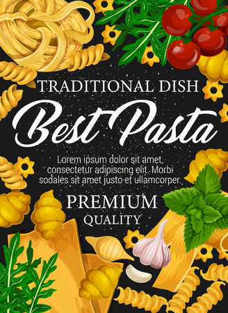 Pasta, macaroni and spaghetti, fusilli, cannelloni and conchiglie, linguine, fettuccine and lasagna shapes with Italian cuisine spices and herbs. Wheat pasta, tomato, garlic and basil, food vector 스톡 콘텐츠 - 114744583